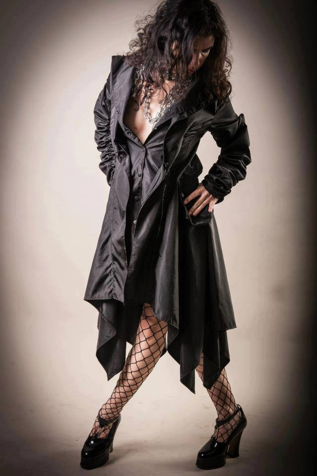 Trench Coat/Black trench/Waistcoat/Belted coat/Asymmetrical coat/Extravagant coat/