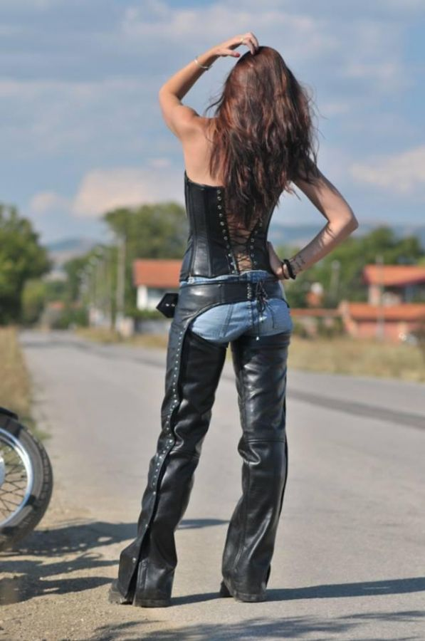 Female Rocker corset and pants inspired by Ghost Rider