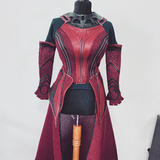 Scarlet Witch WandaVision full cosplay costume - full set with pants, shinguards, tiara headpiece, cape and gloves