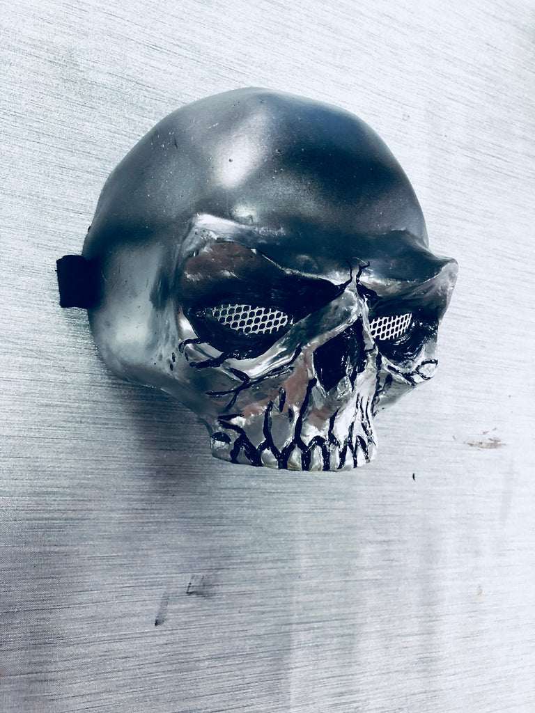 metallic skull mask