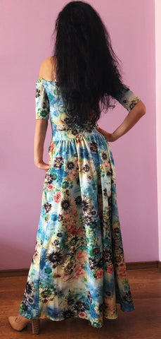 Floral Off Shoulder thigh high slit maxi dress/ Slit off dress