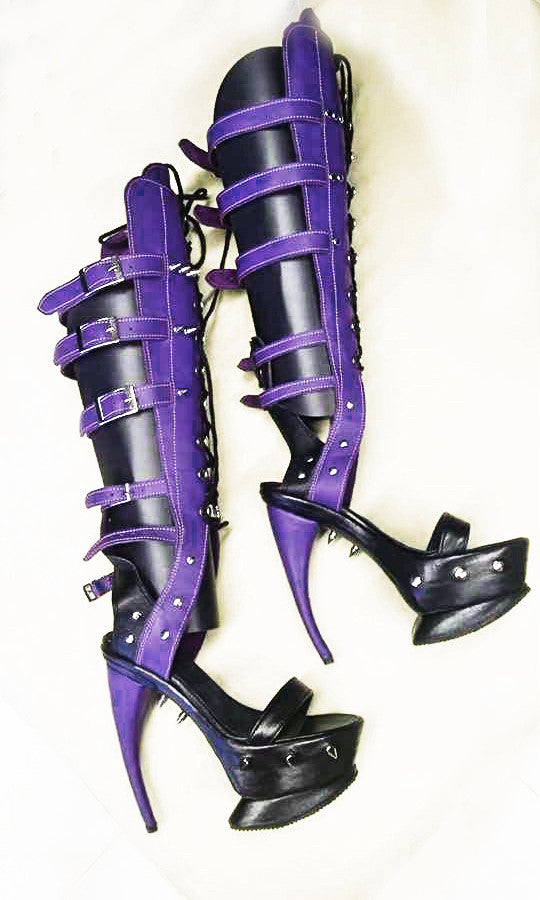 Curved heel shoes/ Curved heel boots/ Purple streaptease boots