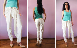 white drop crotch pants
