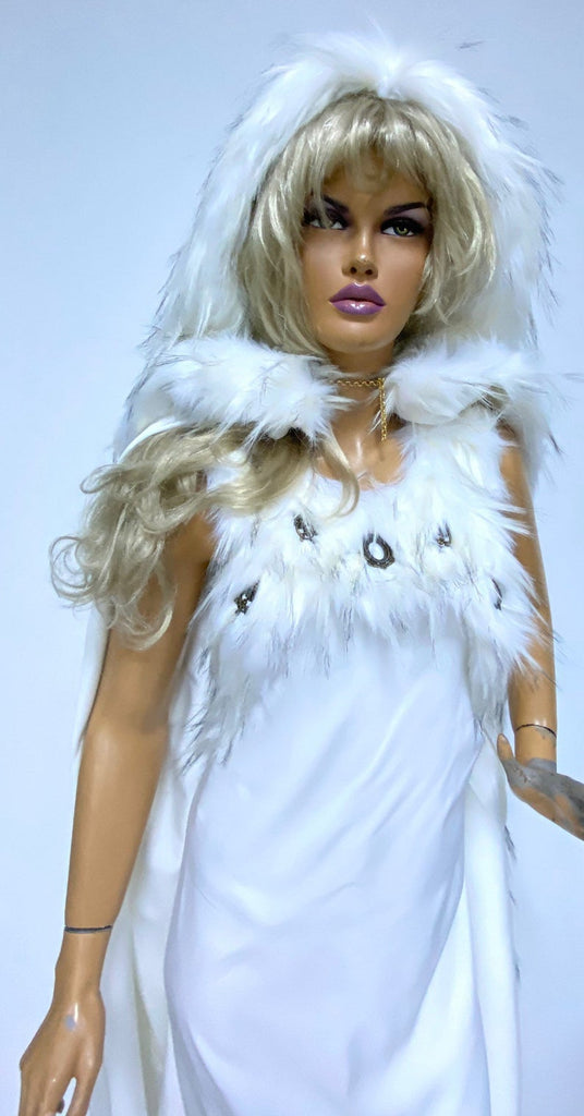 white celtic fur dress
