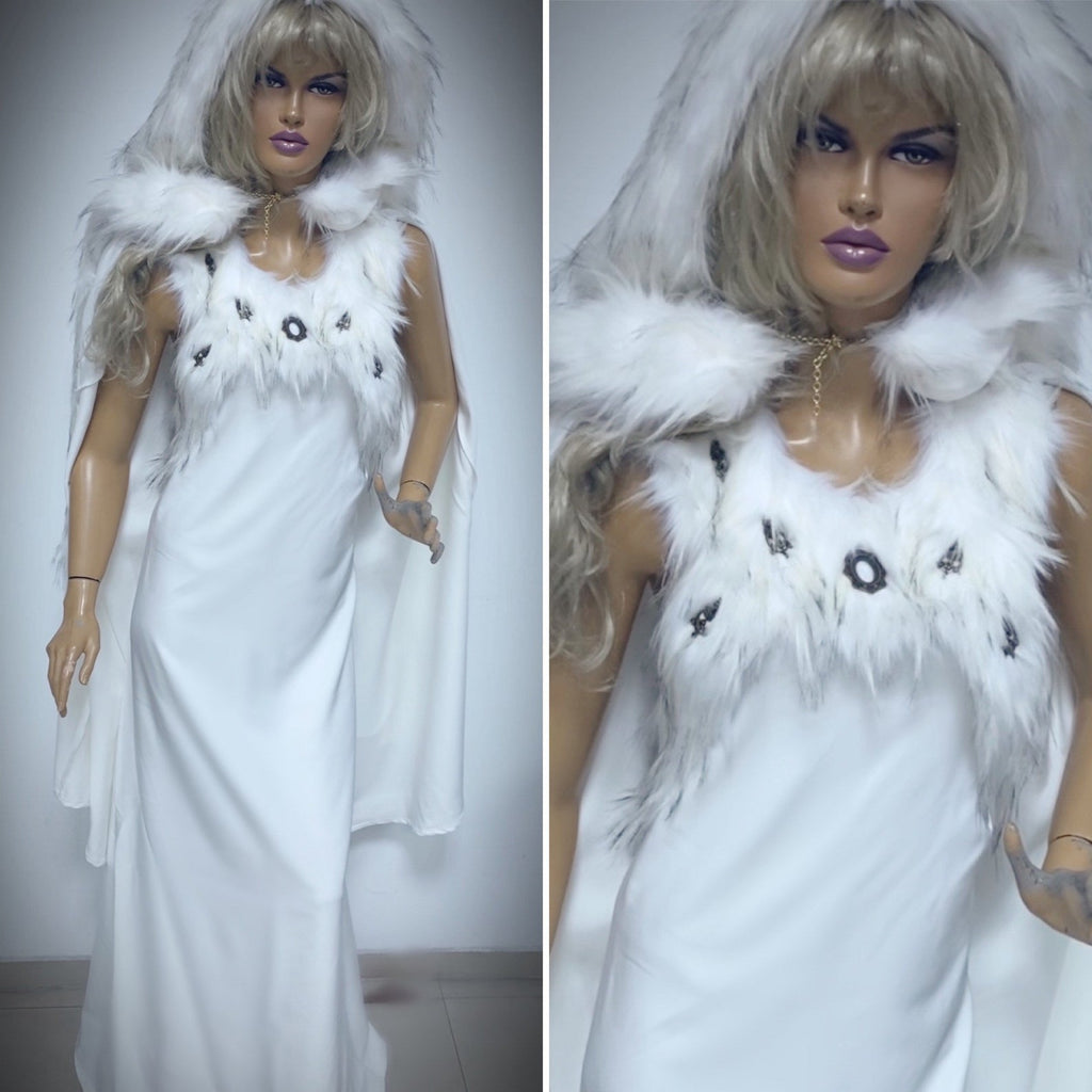 white viking dress