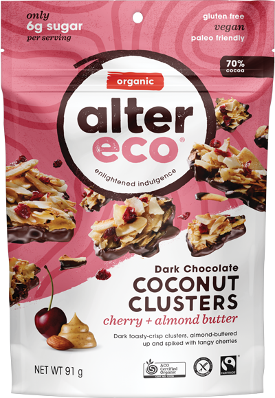 Alter Eco Coconut Clusters Cherry & Almond Butter 91g Confectionery