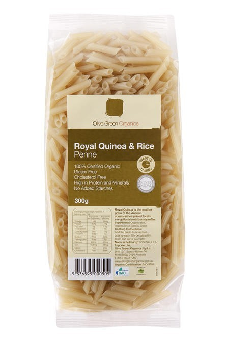 Olive Green Quinoa & Rice Penne 300g Noodles & Pasta
