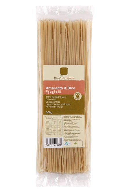 Olive Green Amaranth & Rice Spaghetti 300g Noodles & Pasta