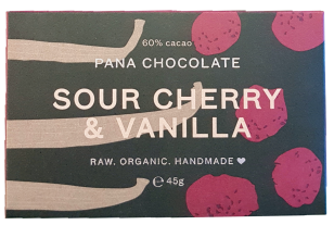 Pana Chocolate Organic 60% Raw Cacao - Sour Cherry & Vanilla 45Gx12 (Pana Chocolate)