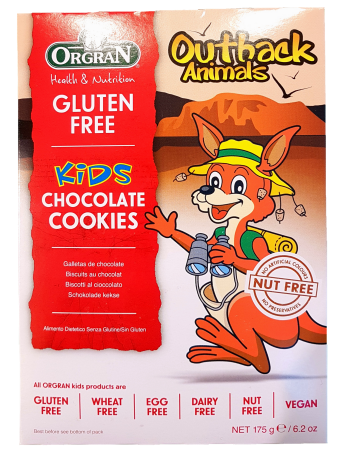 Orgran Chocolate Outback Animal Cookies Gluten Free Baby Toddler and Kids