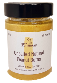 99th Monkey Unsalted Natural Peanut Butter 300g Spreads Honey and Tahini