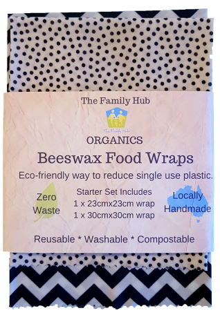 2 Wraps The Family Hub Organics Beeswax Food Wrap Set