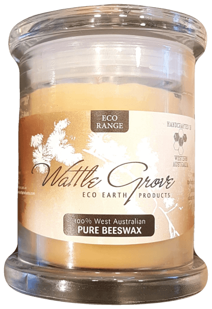 Wattle Grove Beeswax Candle Glass Container Medium Essential Oils & Candles