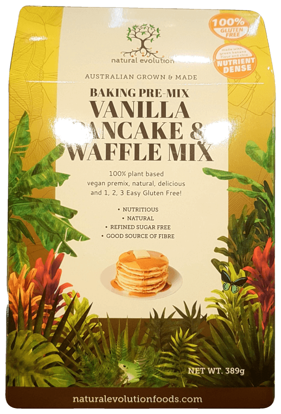 Natural Evolution Vanilla Pancake and Waffle Mix 389g Make at Home Mixes