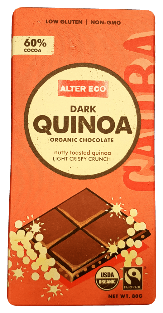 Alter Eco Dark Quinoa Chocolate Organic 80g Confectionery