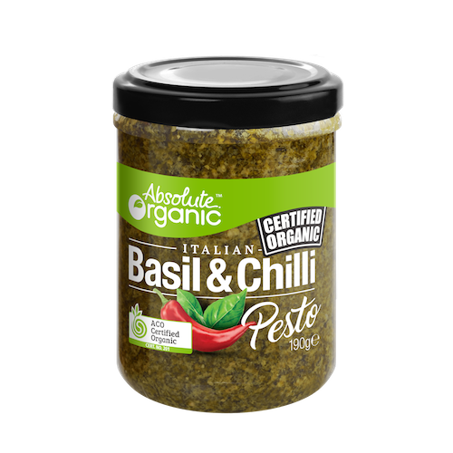 Absolute Organic Basil & Chilli Pesto 190g Sauces & Condiments