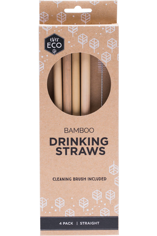 Ever Eco Bamboo Straws 4 Pack + Cleaning Brush Zero Waste