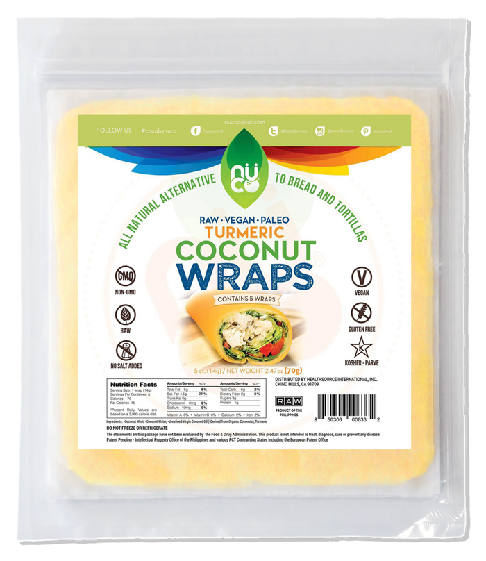 Nuco Raw Turmeric Coconut Wraps Organic 70g BREAD AND WRAPS
