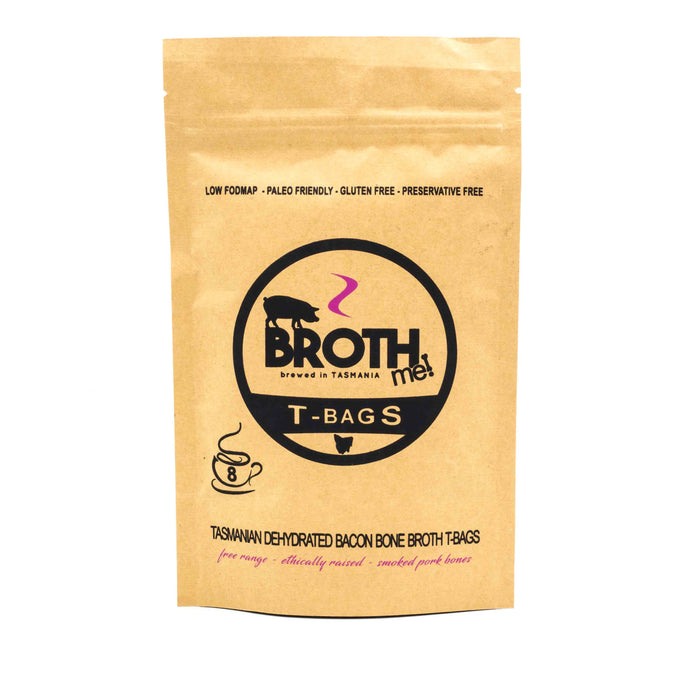 Broth Me Tasmanian Dehydrated Bacon Bone Broth T-Bags 8 Serves Stocks & Broths
