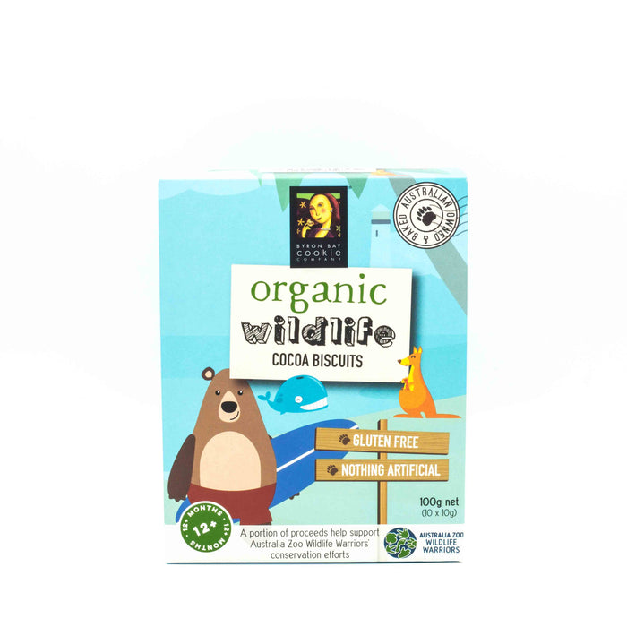 Byron Bay Cookie Co Organic Wildlife Cocoa Biscuits 100g (10 x 10g) Baby Toddler and Kids