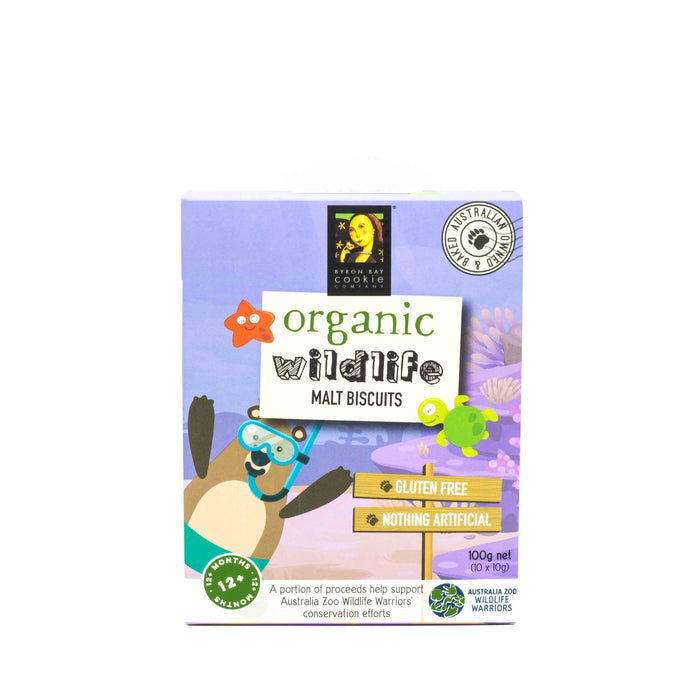 Byron Bay Cookie Co Organic Wildlife Malt Biscuits 100g (10 x 10g) Baby Toddler and Kids
