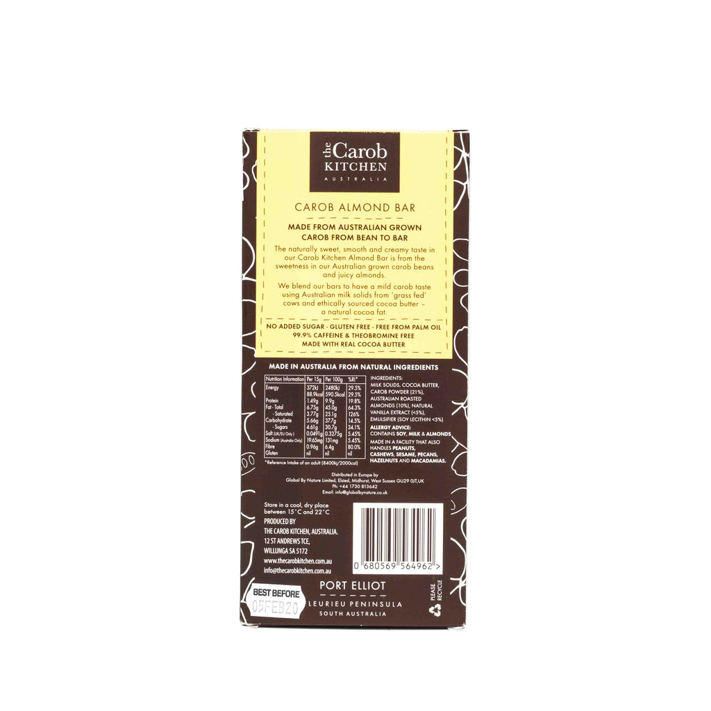 The Carob Kitchen Carob Almond Bar 80g Confectionery