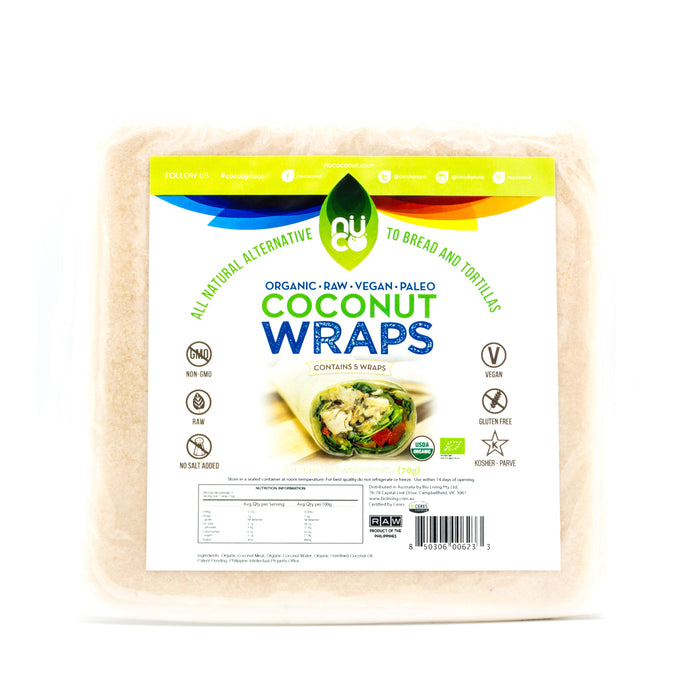 Nuco Raw Coconut Wraps Organic 70g BREAD AND WRAPS