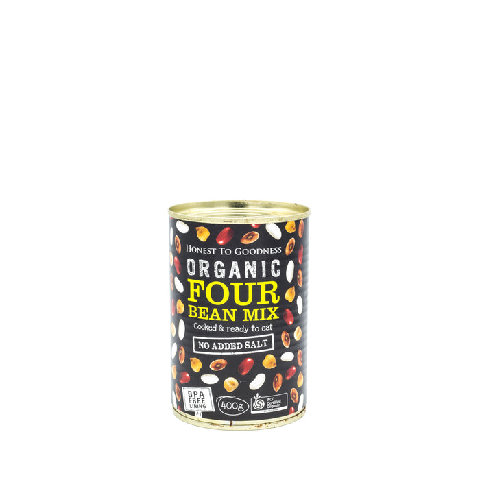 Honest to Goodness Organic Four Bean Mix 400g can Beans Lentils & Peas