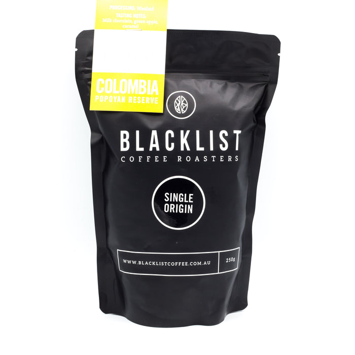 Blacklist Single Origin Colombia Popoyan Reserve Coffee 250g Teas Coffees and Blends