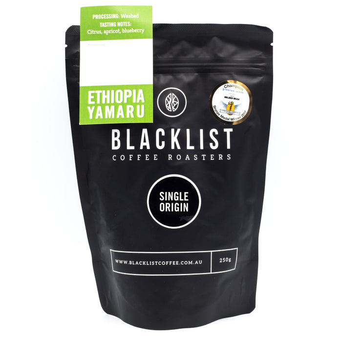 Blacklist Single Origin Ethiopia Yirgacheffe Yamaru Coffee 250g Teas Coffees and Blends