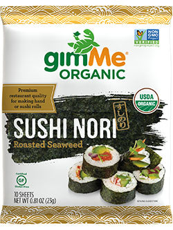 Gimme Organic Sushi Nori Roasted Seaweed Sheets 10 Pack Sea Vegetables