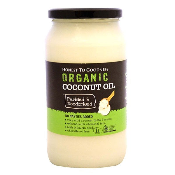 Honest to Goodness Organic Coconut Oil Purified/Deodorised 1L Oils & Vinegars