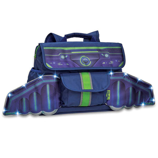 Bixbee Space Racer Pack LED Light Up Wings Kids Small Backpack