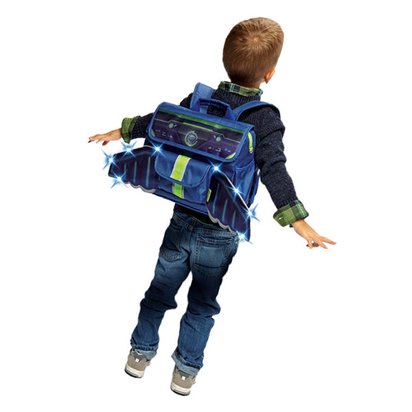 Child with Bixbee Space Racer Pack LED Light Up Wings Kids Small Backpack