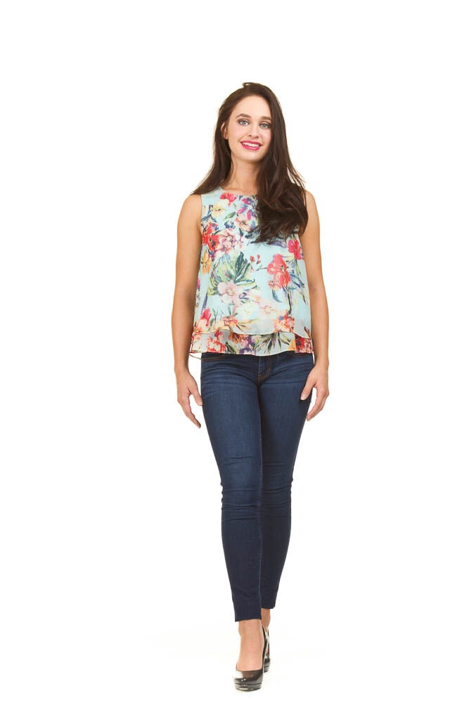 Floral layered tank
