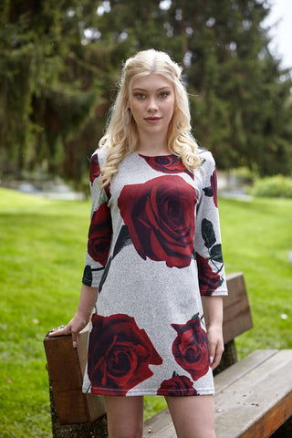 Rose print sweater dress