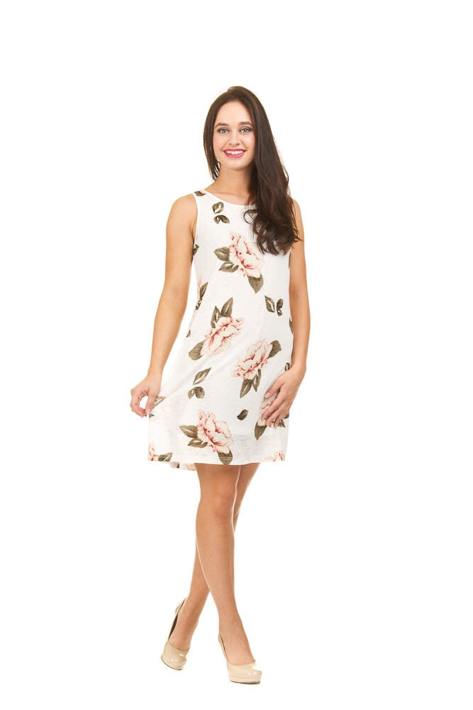 Rose print textured dress