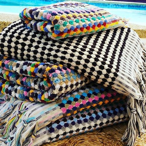 Rainbow Turkish Pom Pom Towel