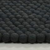 Black Felt Ball Rug 100cm