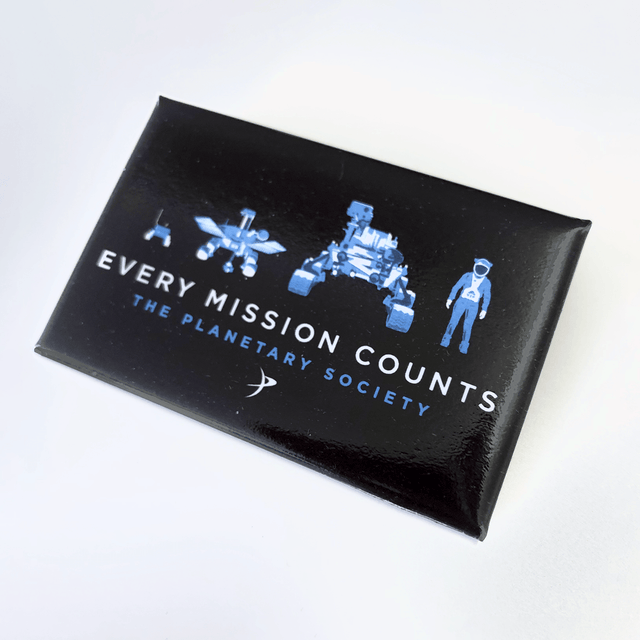 Every Mission Counts Button for The Planetary Society