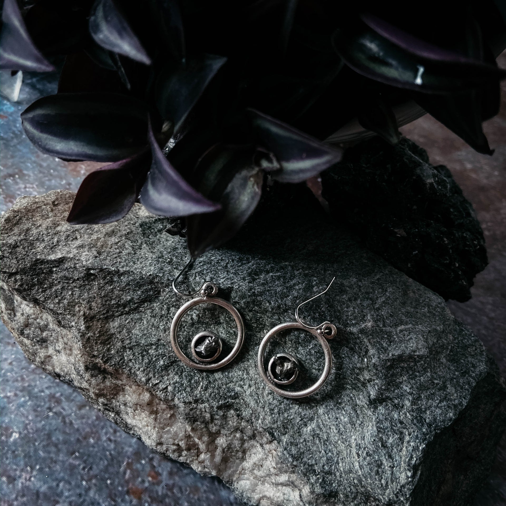 Circle Silver Earrings with Raw Meteorite - Yugen Tribe