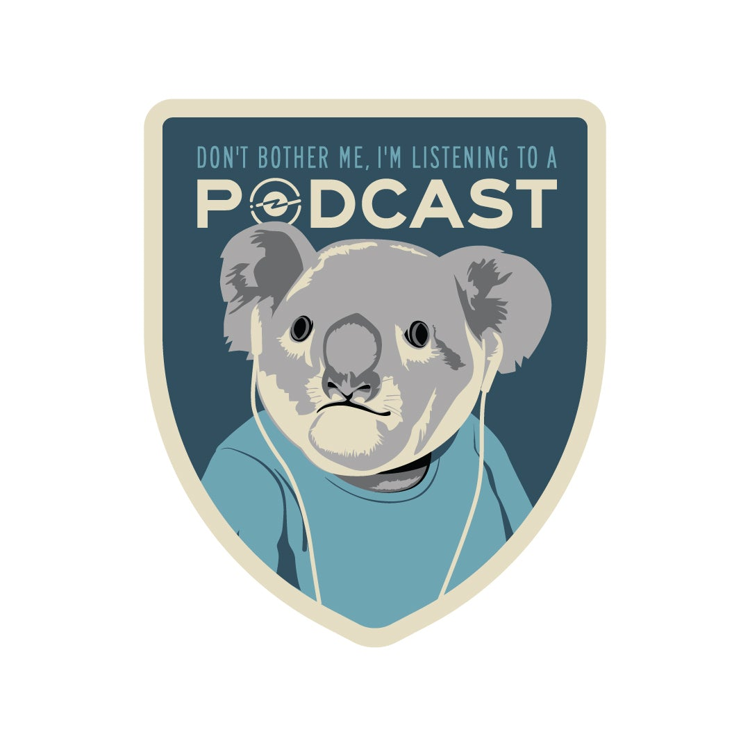 Koala Listening to a Podcast Sticker