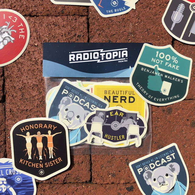 Radiotopia Merit Badge Stickers Super-Sized (set of 13)
