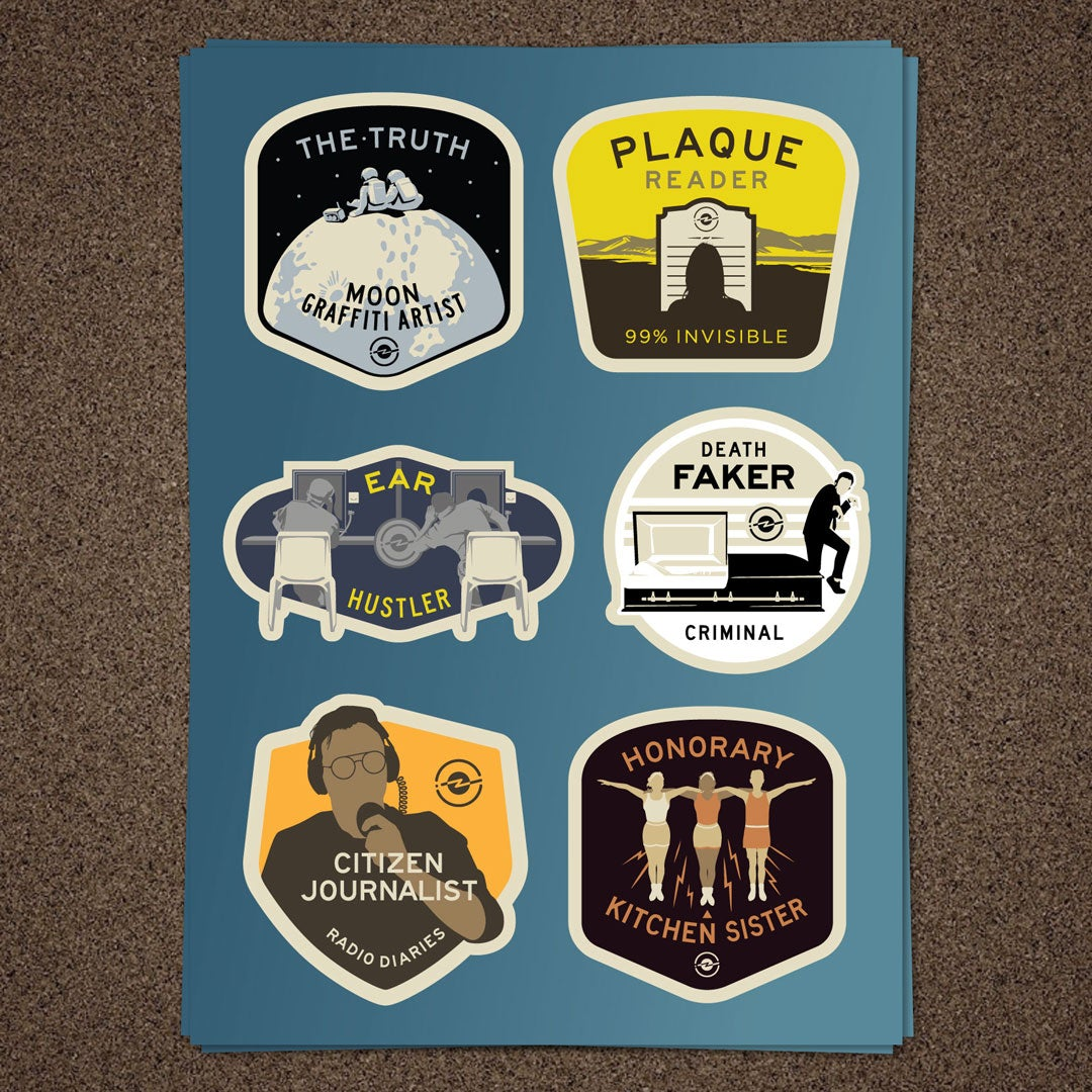 Radiotopia Merit Badge Stickers (set of 18)