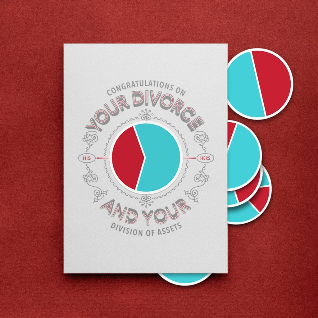 Divorce Card (includes 6 pie-chart stickers)