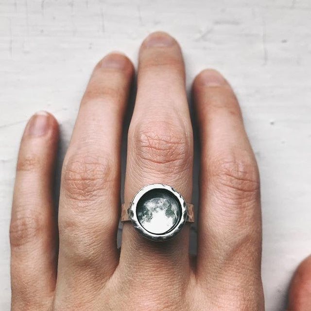 Custom Moon Date Hammered Ring