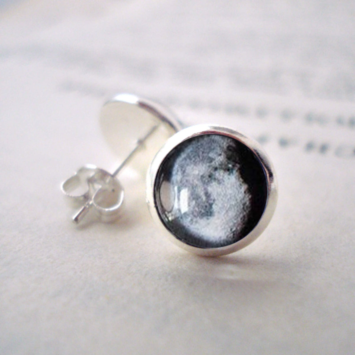 Silver Tone Stud Earrings with Custom Moon Phase