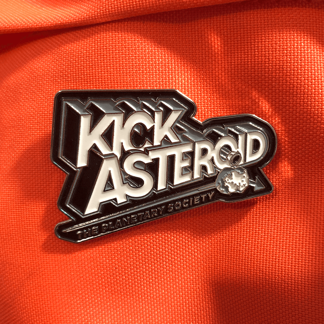 KickAsteroid Enameled Pin for Planetary Society