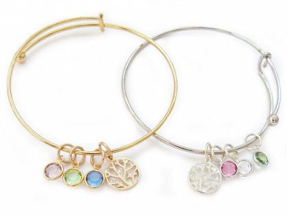 Family Tree Bangle, Silver or Gold