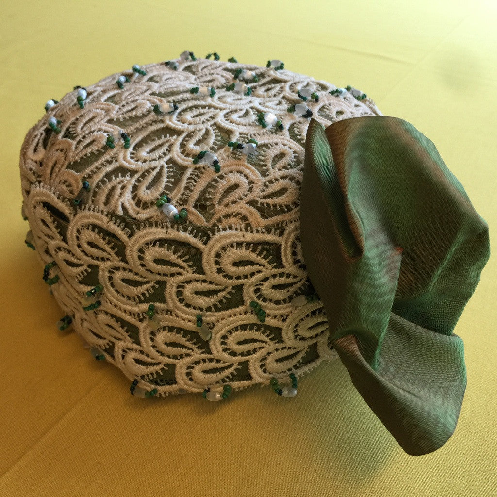 Green Silk Hat with Lace and Beading